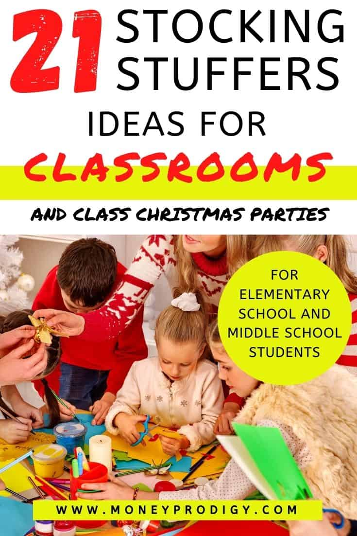 """teacher in classroom with kids, handing one a gift, text overlay """"21 stocking stuffer ideas for classrooms - and class Christmas parties"""""""