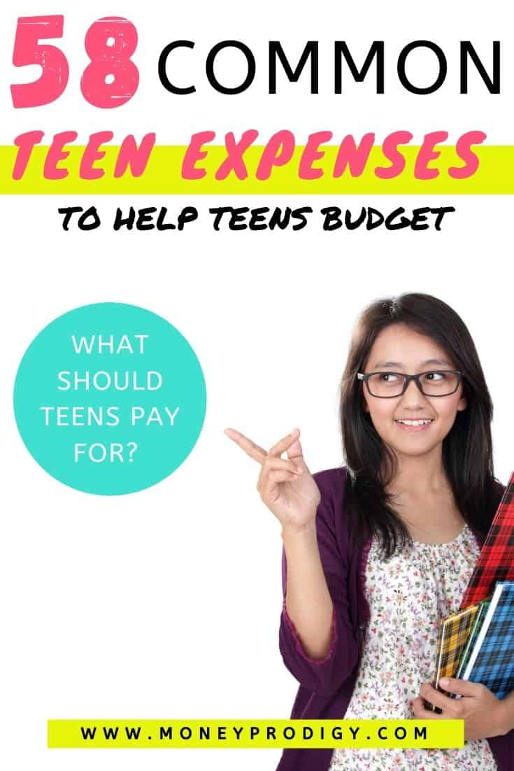"teen girl with glasses pointing towards text overlay, which says ""58 common teen expenses to help teens budget - what should teens pay for?"""