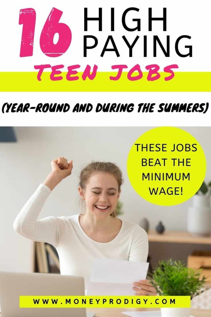 """teen woman celebrating job acceptance letter, text overlay """"16 high paying teen jobs (year-round and during the summers) that will beat minimum wage"""""""