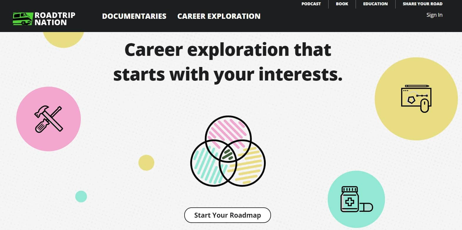 screenshot of roadtrip nation career exploration site for teens