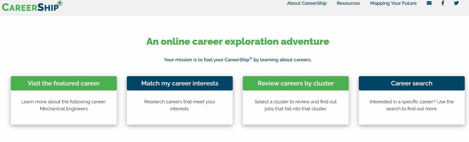 screenshot of career ship career information site for high school students