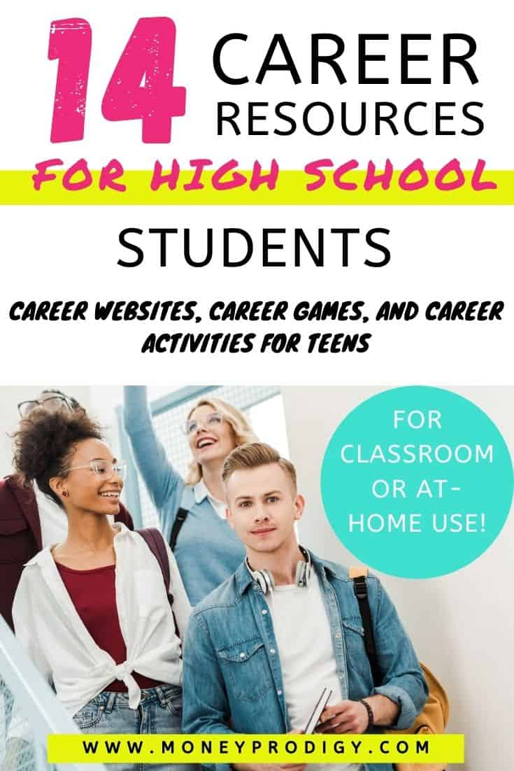 "group of high school students walking down stairs at school, text overlay ""14 career resources for high school students - career websites, career games and career activities for teens"""