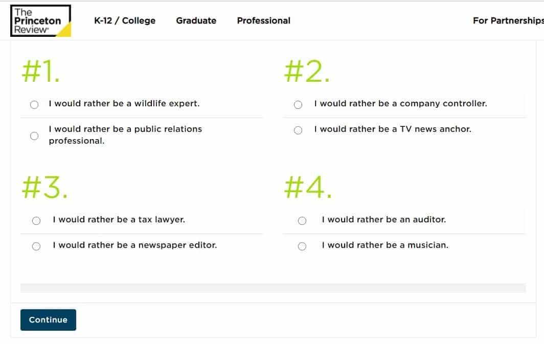 screenshot of career test on princeton review's career site