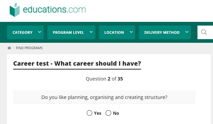 screenshot of career test for students on educations.com site