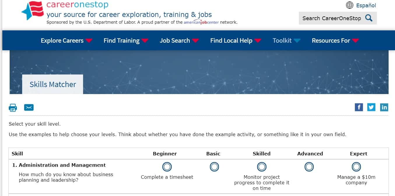 screenshot of career test on career one stop's website