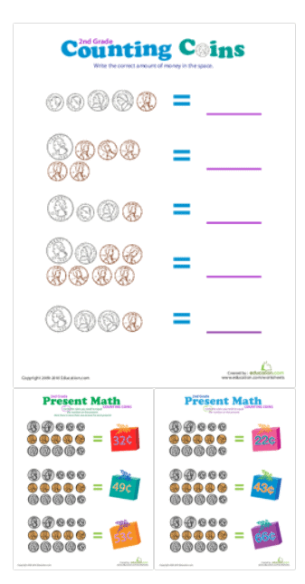 screenshot of coins lesson plan printable for second grade