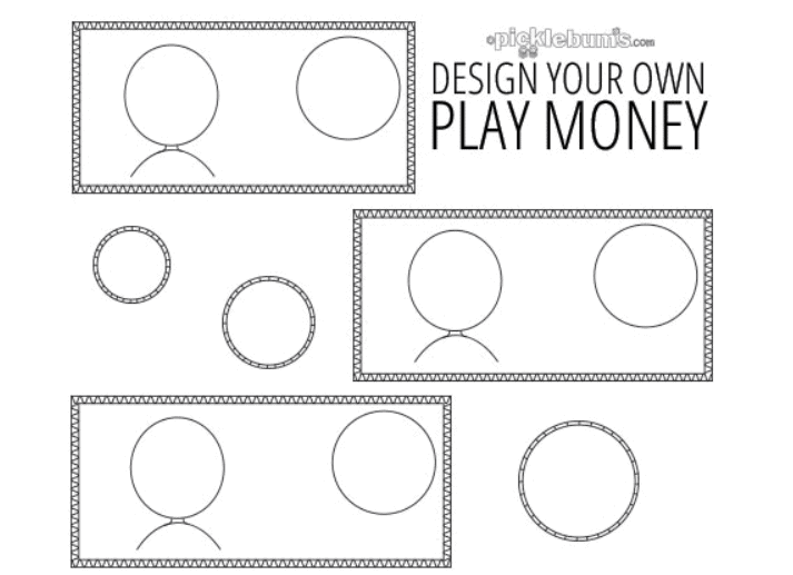 screenshot of blank money that kids get to color in and design
