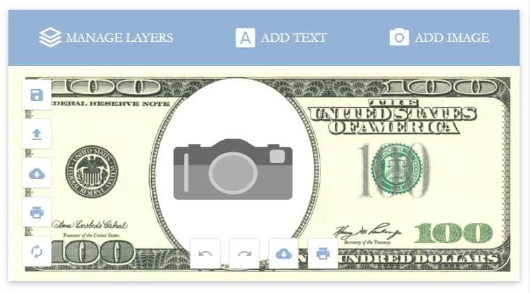screenshot of editable and customizable free money printable for kids