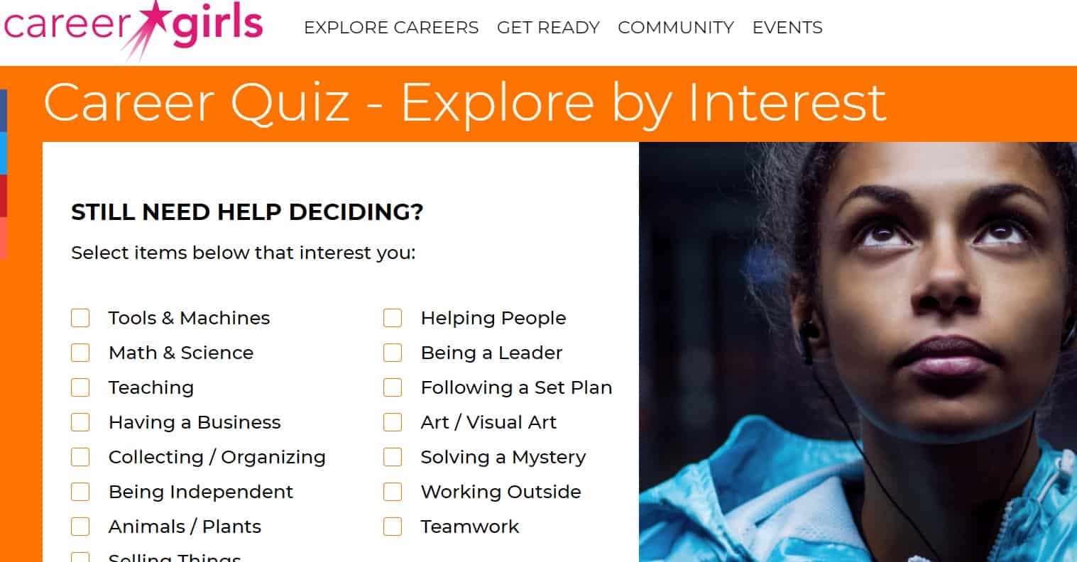 screenshot of career girls career quiz, free career resources for schools