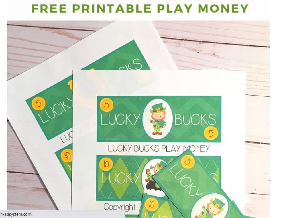 screenshot of free money printable with leprechaun theme
