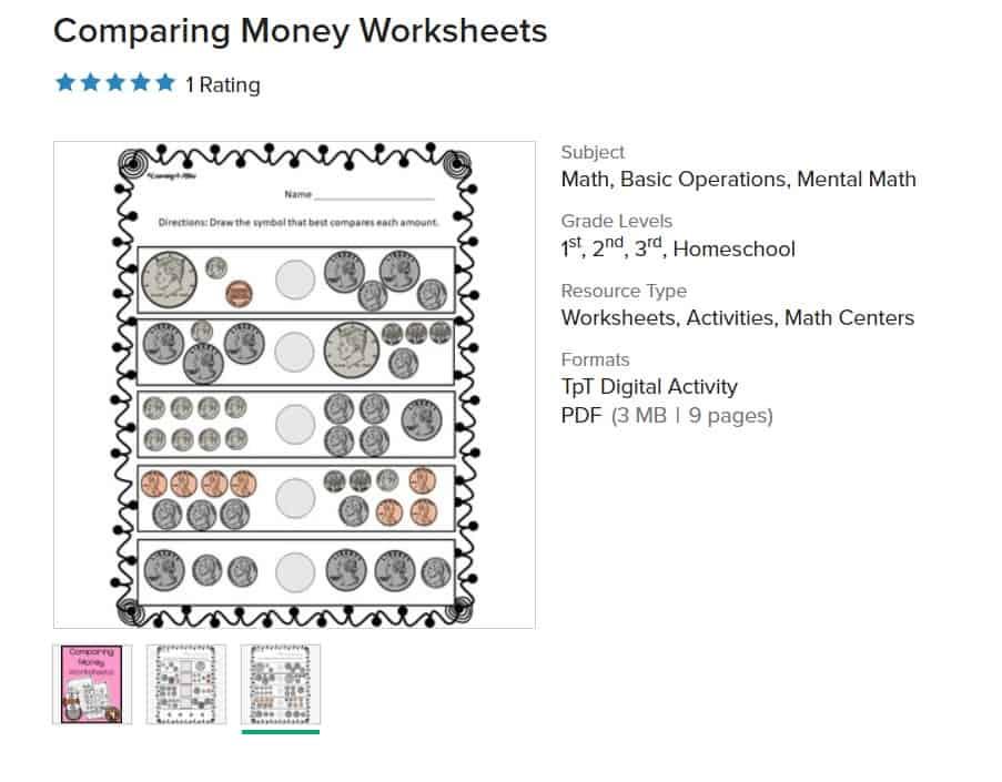 screenshot of money worksheet printable for second grade, comparing money worksheets