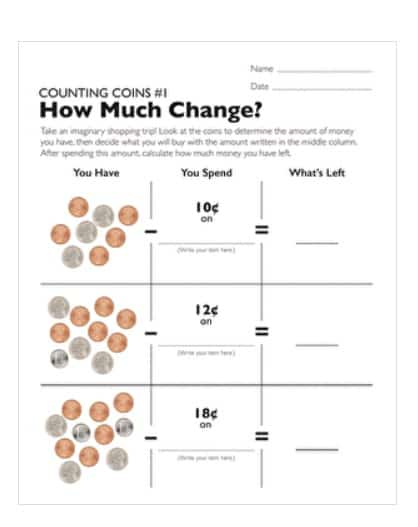 screenshot of how much change printable money worksheet for 2nd graders