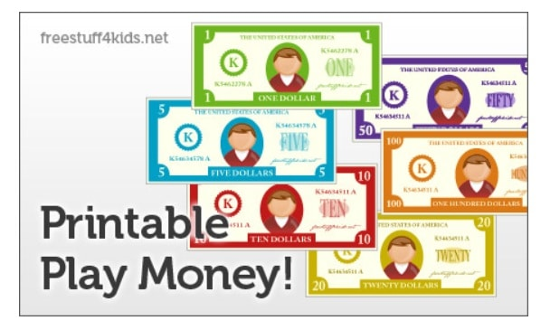 screenshot of free printable play money with faceless characters, colorful