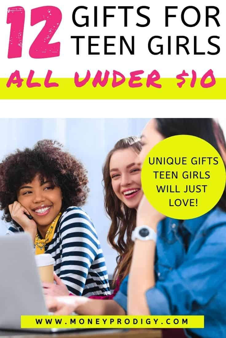 "three teen girls at desk, text overlay, ""12 gifts for teen girls all under $10 - unique gifts teen girls will just love"""