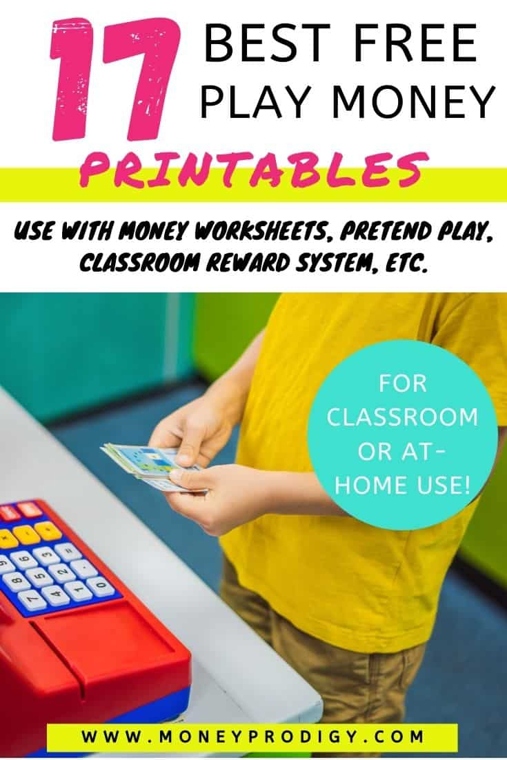 """boy playing with pretend money and cash register, text overlay """"17 best free play money printables"""""""