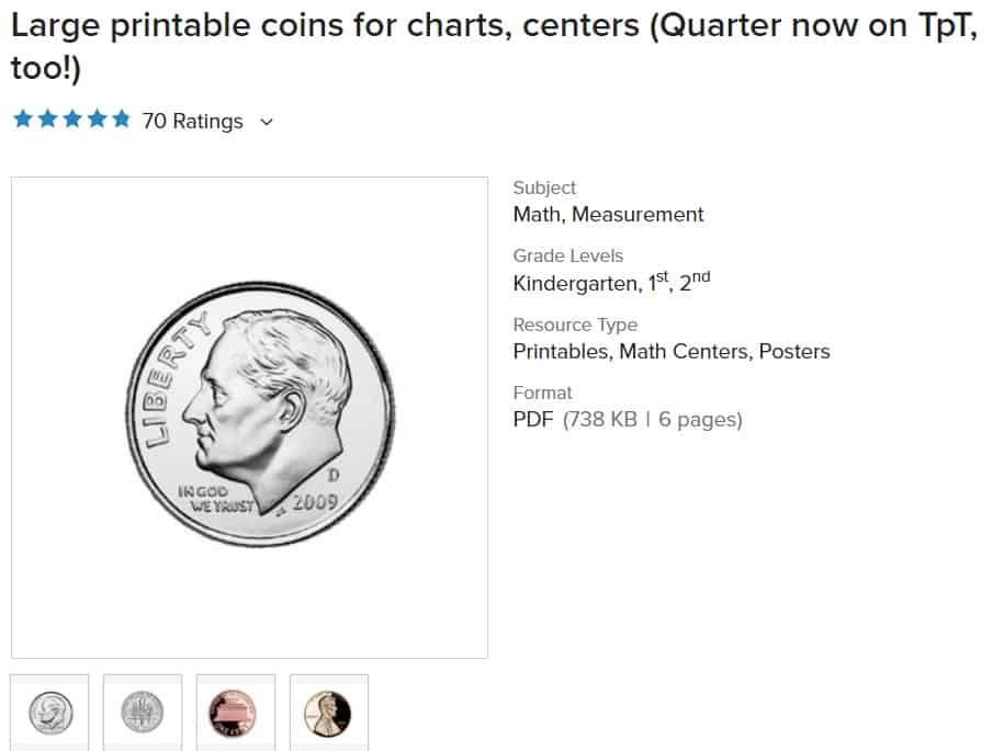 screenshot of large print coin pretend printables