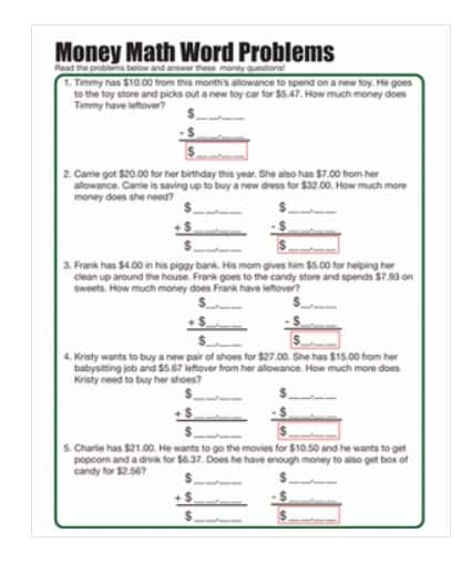 screenshot of money word problems free worksheet for second grade