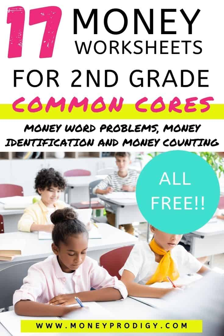 "second graders in classroom working on money worksheets, text overlay, ""17 money worksheets for 2nd grade common cores - money word problems, money identification and money counting, all free"""
