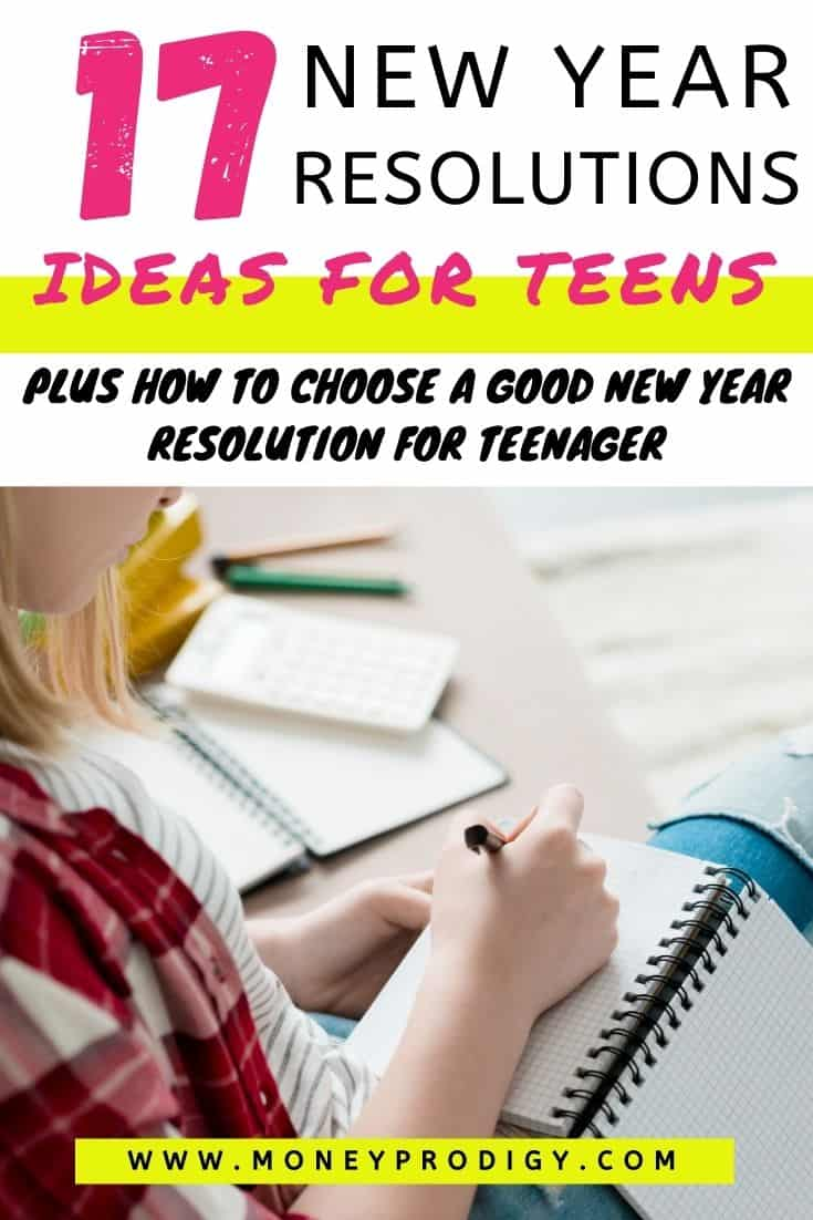 teen girl on couch writing out teen resolutions, text overlay,