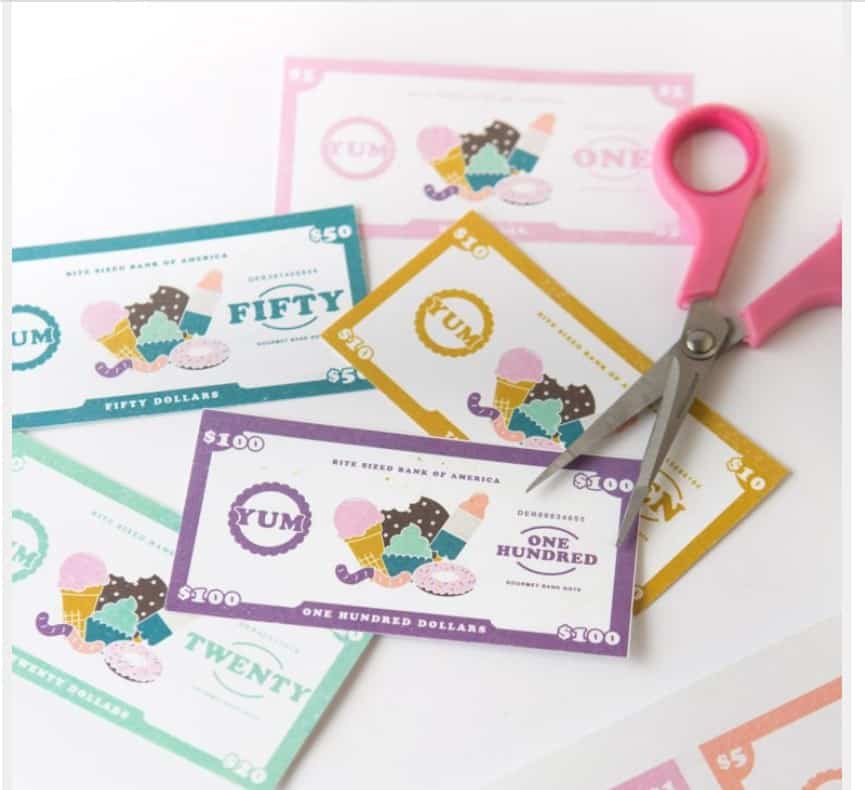 screenshot of preschool pretend money with ice cream and sweets theme