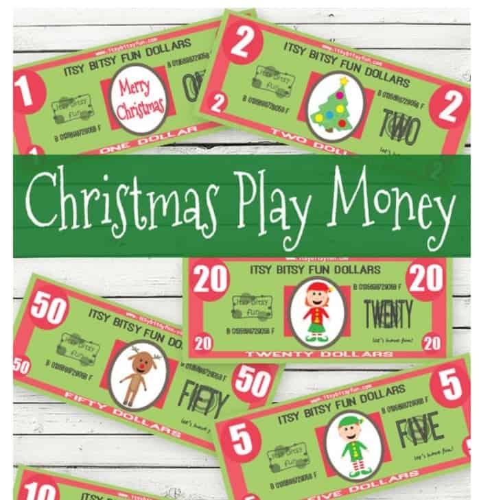 screenshot of fake money Christmas printables for kids