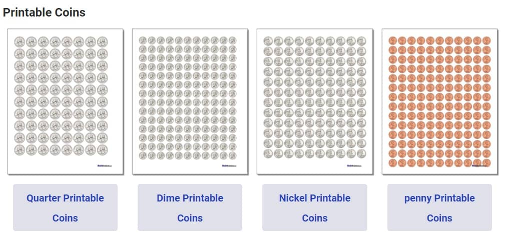 screenshot of printable pretend coin sheets