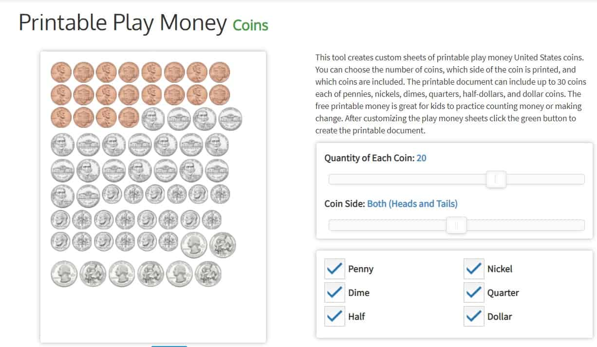 screenshot of pretend coins to print