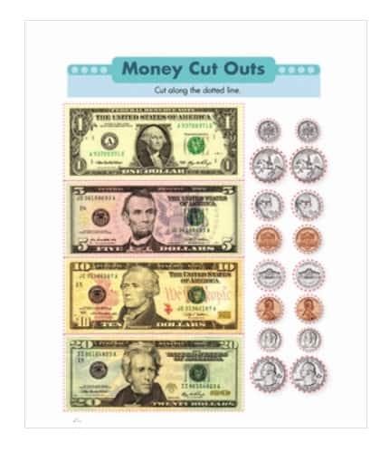 screenshot of printable fake money actual size pdf