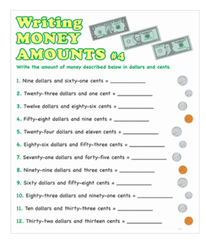 screenshot of printable money worksheets pdfs for 2nd graders, writing money amounts