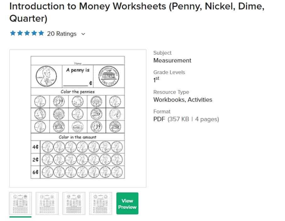 screenshot of free money worksheet for second grade, intro to coins
