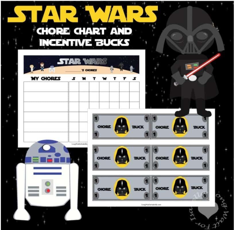 screenshot of behavior bucks printable Star Wars