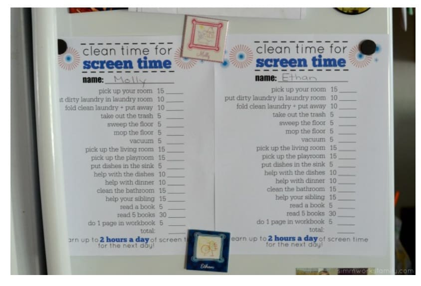 screenshot of children reward system idea for screen time