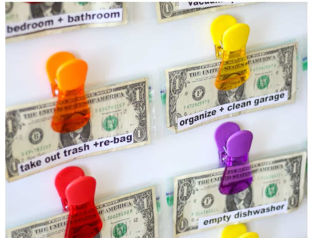 screenshot of chore chart money clip using snack baggies and clips