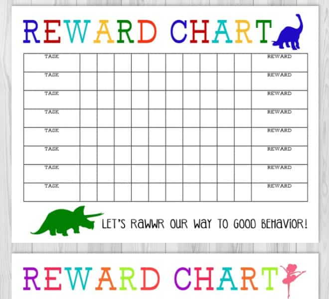 screenshot of boy and girl printable chore chart with money