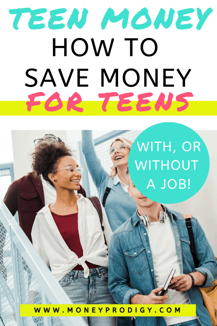 "group of teens walking down stairs at high school, text overlay ""how to save money as a teen, with or without a job"""