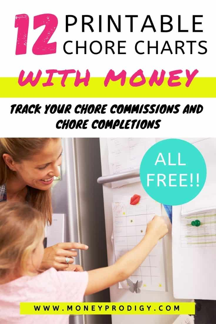 "mom with daughter using chore chart with money on fridge, text overlay, ""12 printable chore charts with money"""