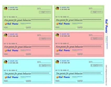 screenshot of behavior checks, printable incentive coupons