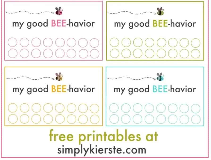 screenshot of bee printable reward tickets