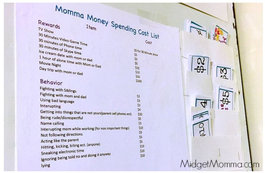 screenshot of reward system for kids household currency system