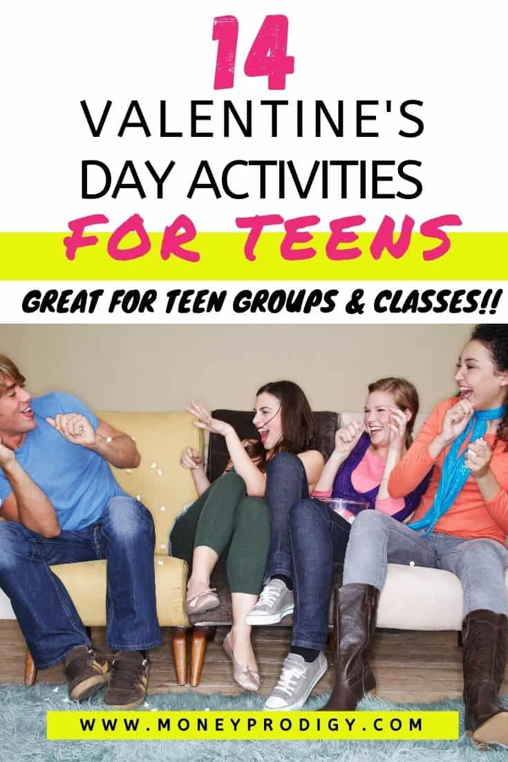"group of teenagers on couch having fun, text overlay ""14 valentine's day activities for teens - great for teen groups and classes"""