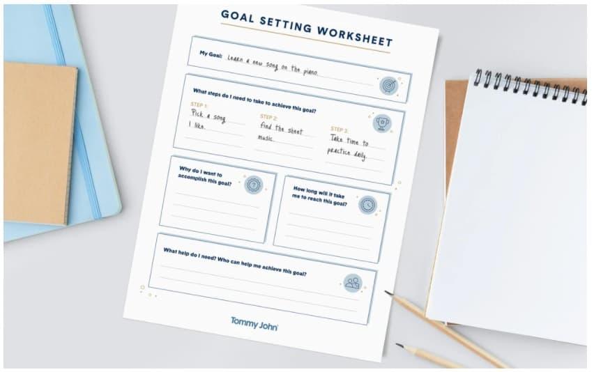 screenshot of boy goal setting worksheet