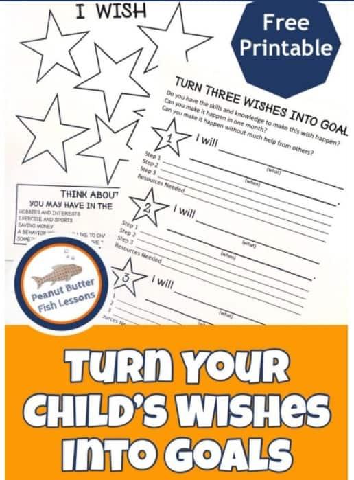 screenshot of children's goal worksheet wishes to goals