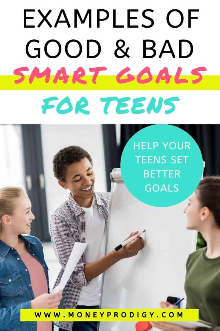 """three students working on smart goals on large paper pad, text overlay """"examples of good and bad smart goals for students - help teens build better goals"""""""