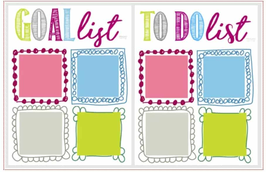 screenshot of post it note goal list and to do list template for kids