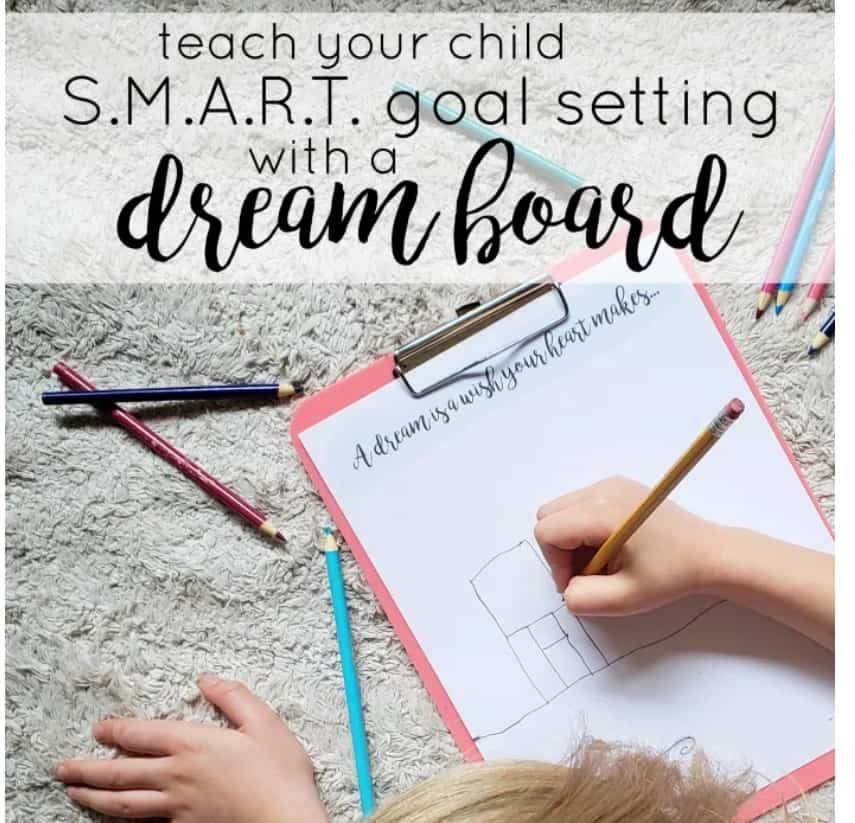 screenshot of simple free vision board printables PDF for kids