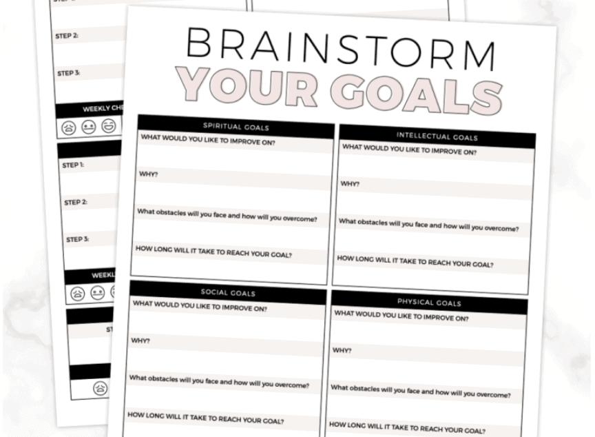 screenshot of brainstorming goal setting worksheet for students, PDF