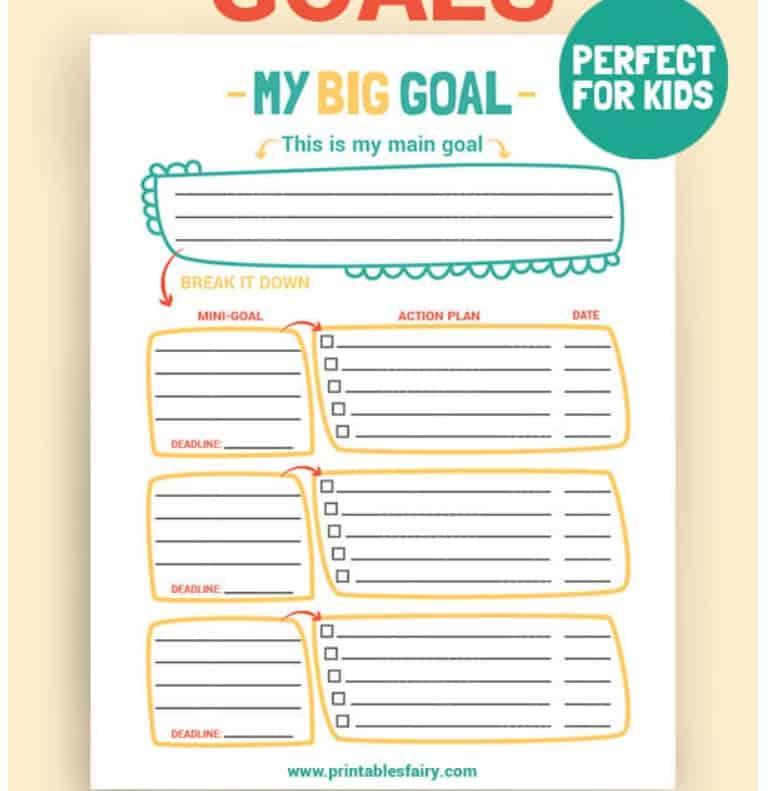 screenshot of goal ladder worksheet for kids PDF