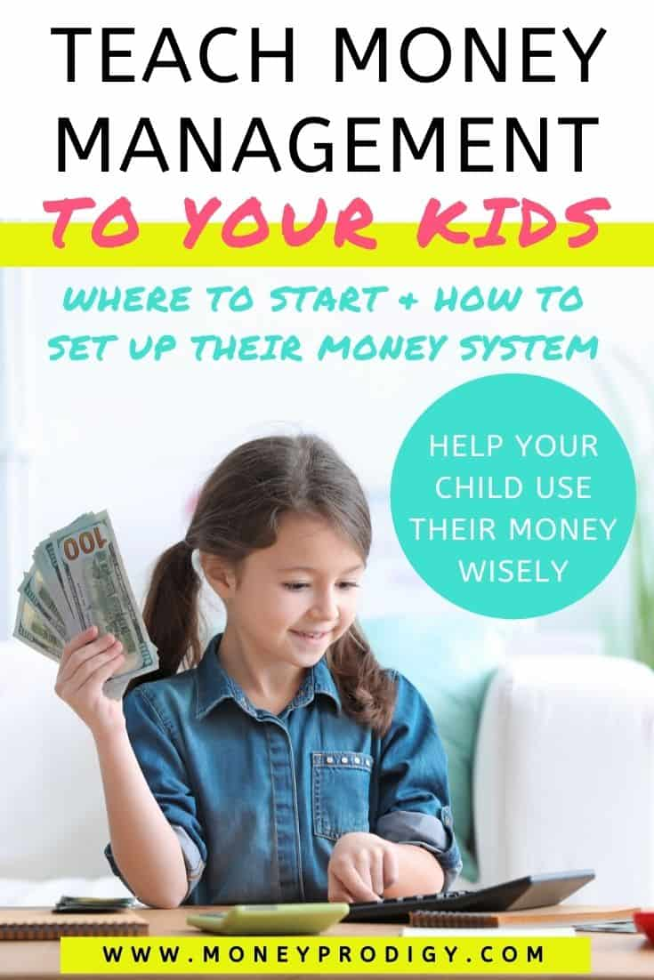 "young girl with money in hand, using a calculator, text overlay ""teach money management to your kids - where to start and how to set up their money system"""