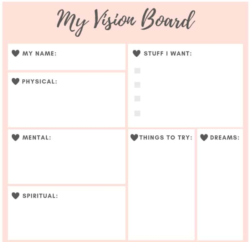 screenshot of teen vision board template PDF on pink background