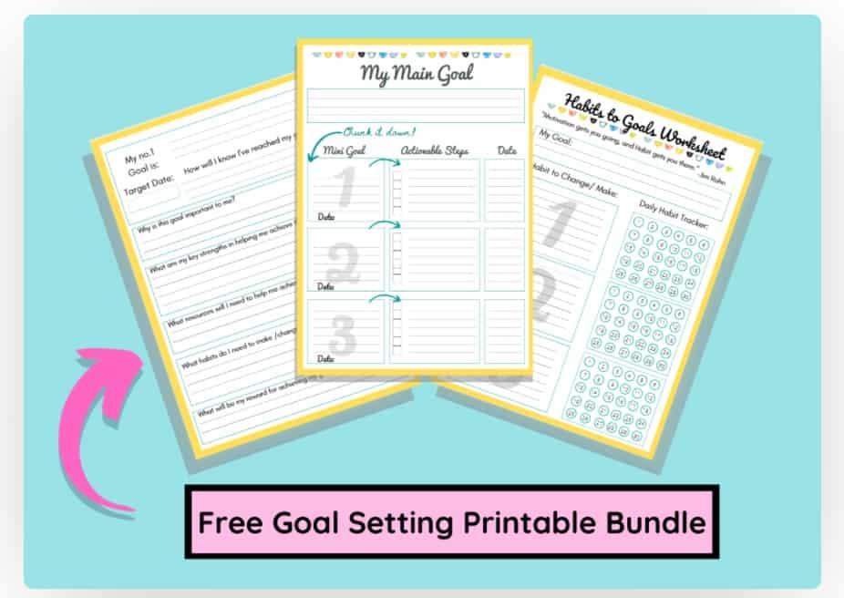 screenshot of student goal setting worksheet PDF